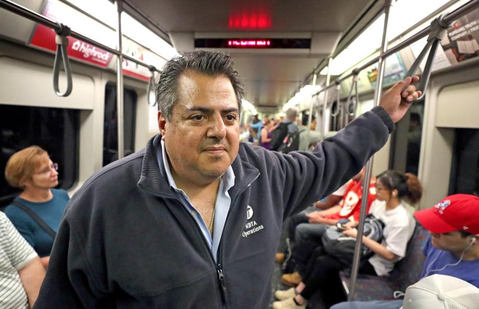 MBTA General Manager Luis Ramirez on the Red Line.