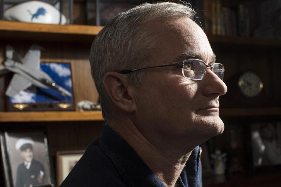 Commander David Fravor, a retired Navy pilot, at home in Windham, N.H. Fravor's encounter with an unidentified aircraft  caught the attention of a Pentagon program investigating UFOs.