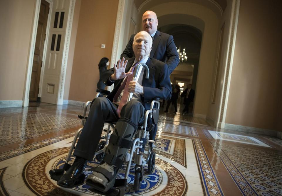 Sen. John McCain, R-Ariz., leaves a closed-door session where Republican senators met on the GOP effort to overhaul the tax code, on Capitol Hill in Washington, Friday, Dec. 1, 2017. (AP Photo/J. Scott Applewhite)
