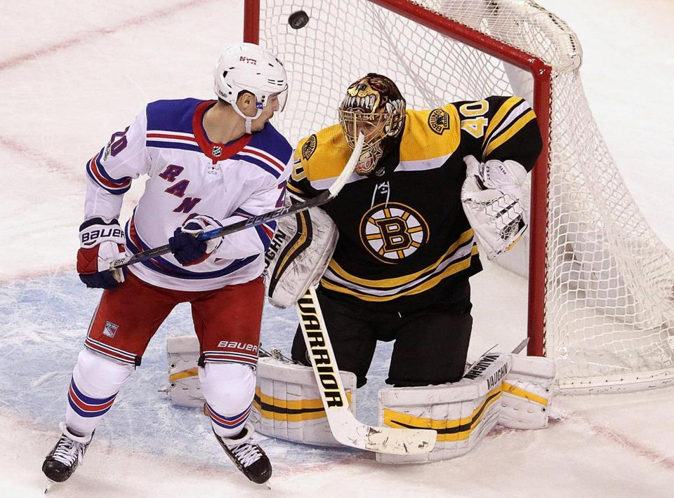 Boston, MA - 12/16/2017 - (overtime period) New York Rangers left wing Chris Kreider (20) provided the screen on the game winning overtime goal by New York Rangers right wing Mats Zuccarello (36), not pictured.The Boston Bruins host the New York Rangers at TD Garden. - (Barry Chin/Globe Staff), Section: Sports, Reporter: Fluto Shinzawa, Topic: 17Rangers-Bruins, LOID: 8.4.376523049.