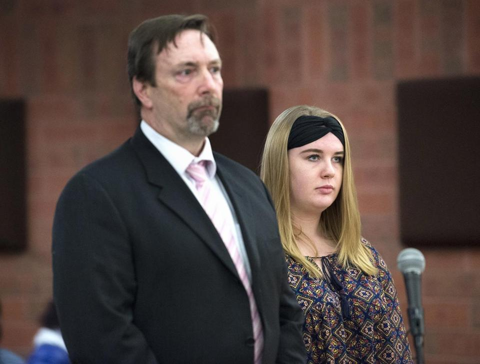 Brianna Brochu, the former University of Hartford student accused of smearing body fluids on her roommate's belongings, makes a brief appearance in Hartford Superior court on Monday, Dec. 18, 2017, with her attorney Tom Stevens. Her case was continued until January 29. Brochu, a Harwinton resident, has been charged by West Hartford police with breach of peace and criminal mischief.(Patrick Raycraft/Hartford Courant via AP)