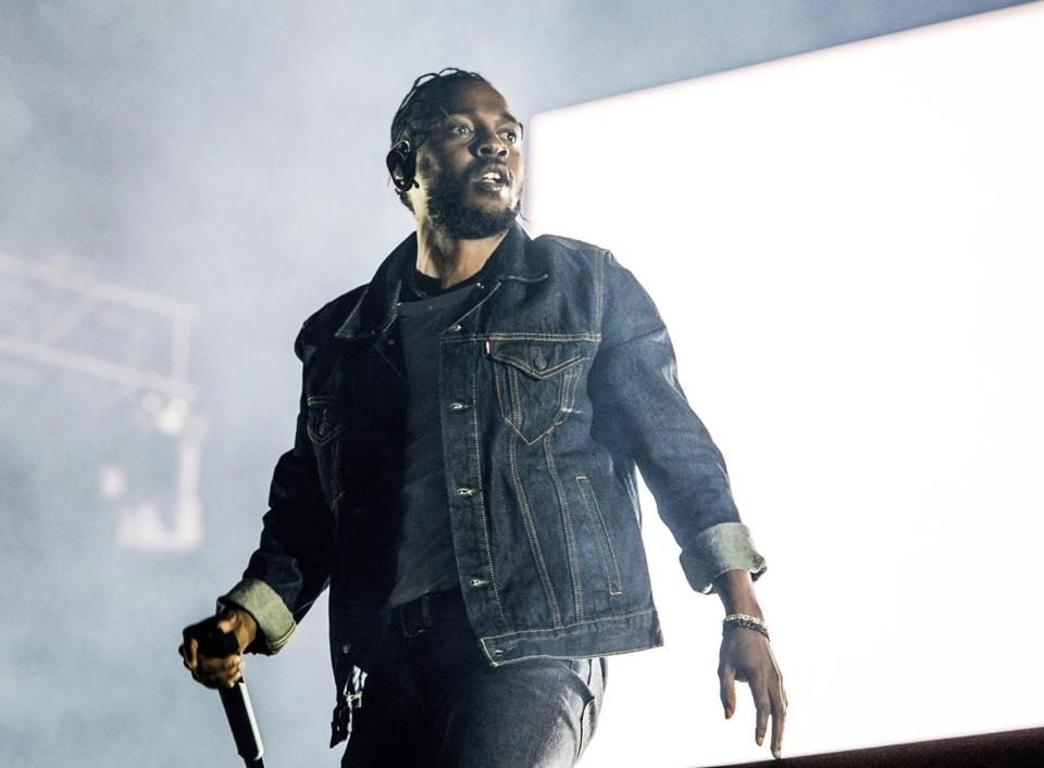 FILE - In this July 7, 2017, file photo, Kendrick Lamar performs during the Festival d'ete de Quebec in Quebec City, Canada. Lamar was nominated for seven Grammy nominations on Tuesday, Nov. 28. The 60th Annual Grammy Awards will air on CBS, Sunday, Jan. 28, 2018, in New York. (Photo by Amy Harris/Invision/AP, File) 17YearPop 24albums