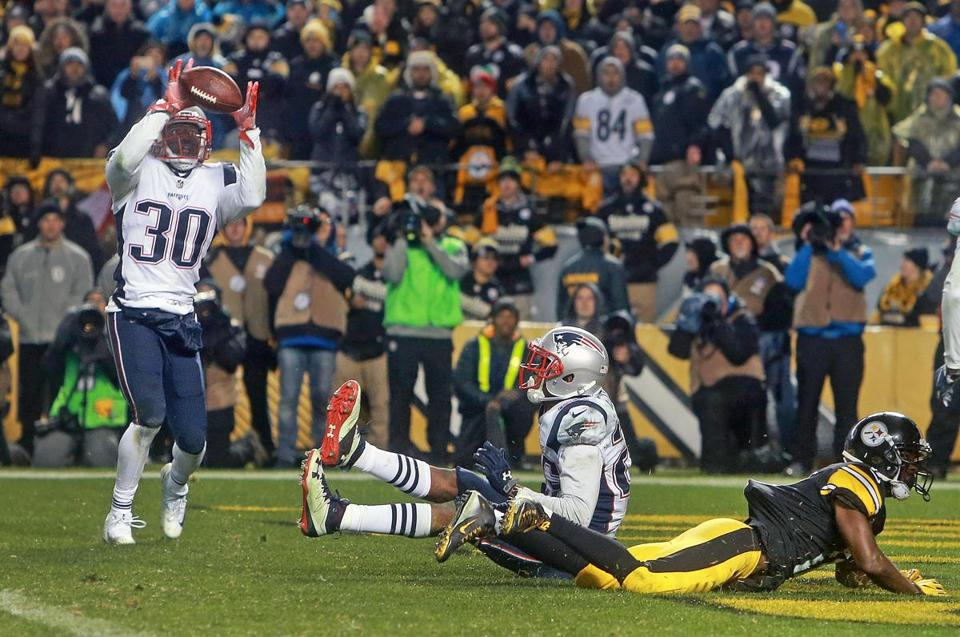 The Steelers pose a challenge, but the Patriots — a Duron Harmon interception here — usually find a way to win.