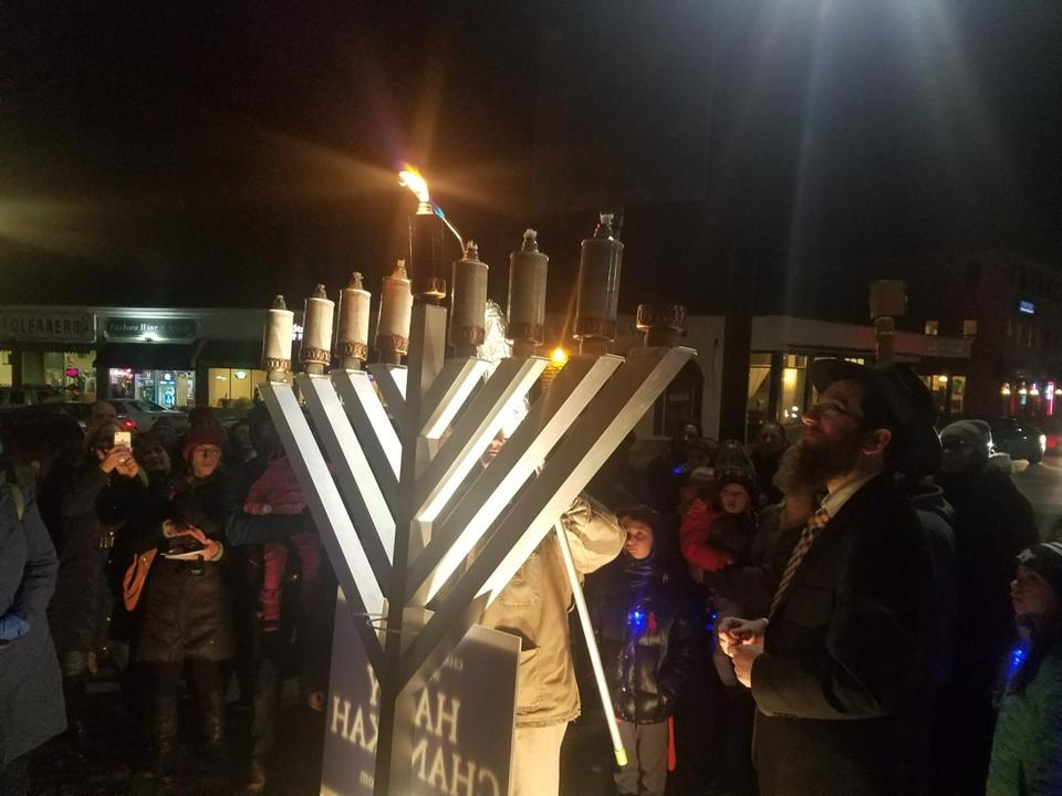 About 150 people celebrated the lighting of a new public menorah on Foxborough Common on December 18 for the celebration of the Jewish holiday.