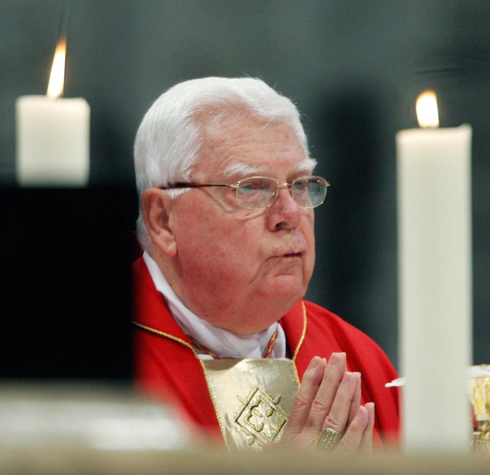(FILES) This file photo taken on April 11, 2005 shows US Cardinal Bernard Law presiding over a mass in St. Peter's Basilica at the Vatican. US Cardinal Bernard Law, a once-senior church figure forced to resign after revelations he failed to stop paedophile priests in one of the biggest crises in American Catholicism, has died, the Vatican said on December 20, 2017. / AFP PHOTO / Thomas COEXTHOMAS COEX/AFP/Getty Images