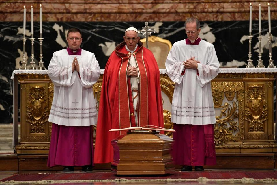 Pope Francis (center) attended the funeral mass of cardinal Bernard Law at St Peter's basilica in Vatican.