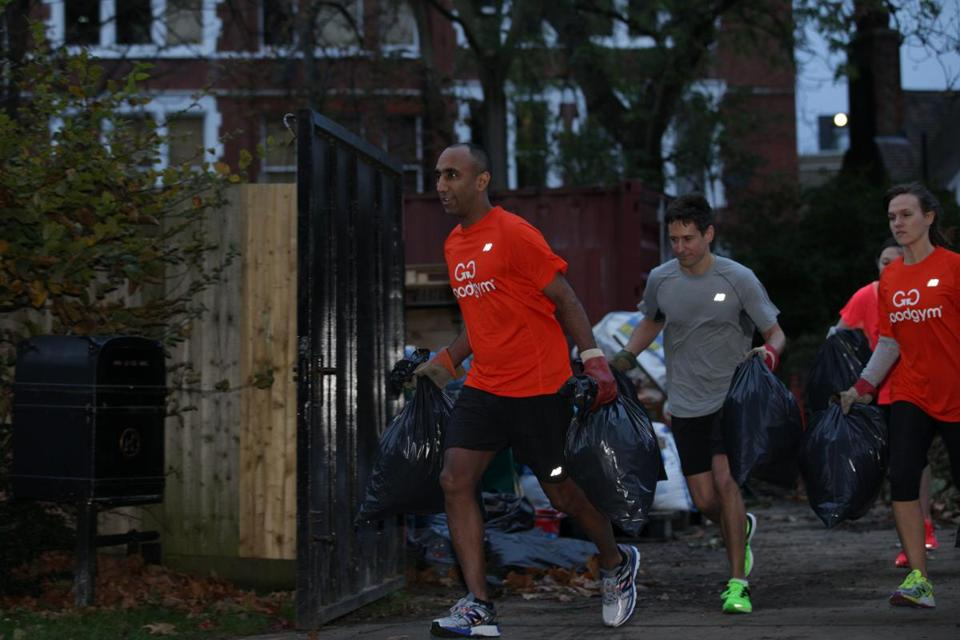 GoodGym's volunteering tasks can include helping clear litter from public parks.
