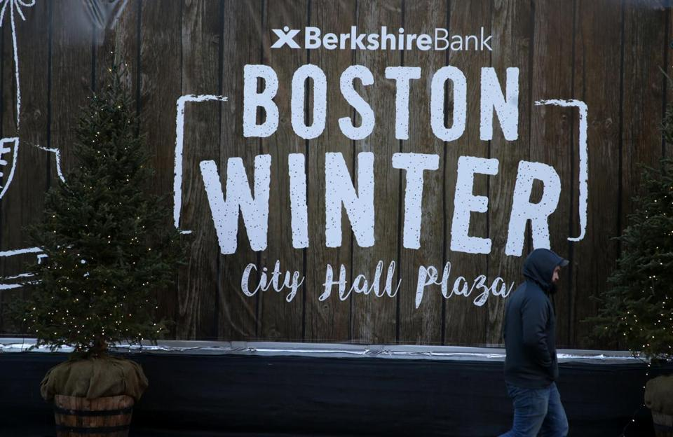 A sign for Boston Winter on City Hall Plaza welcomed visitors.
