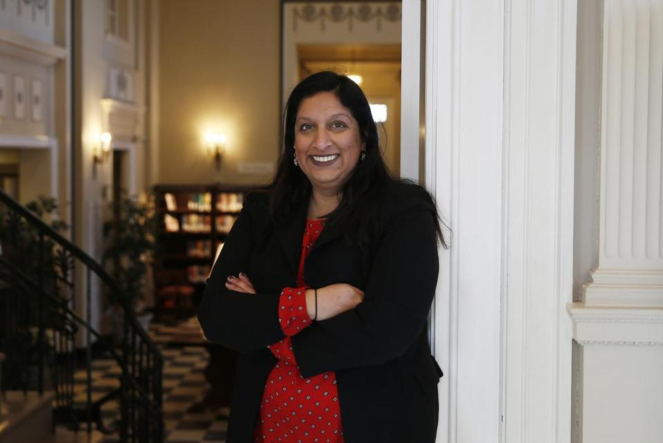 Wakefield, MA -- 12/26/2017 - Wakefield Board of Selectmen member Mehreen Butt, the first American Muslim woman in Massachusetts to be elected to a select board or town council, and the second in Massachusetts to hold an elective office poses for a portrait inside the Wakefield Library. (Jessica Rinaldi/Globe Staff) Topic: 31nobutt Reporter:
