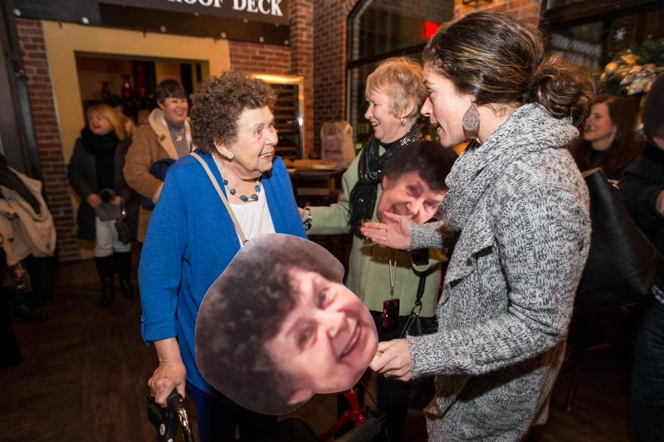 12/27/2017 QUINCY, MA L-R Doris Prendiville (cq) (left) was greeted by her two nieces Maureen Cellucci (cq) and Annmarie Alvarado (cq) during a party held for her at Alba in Quincy. Doris was injured during a mugging before Thanksgiving. (Aram Boghosian for The Boston Globe)