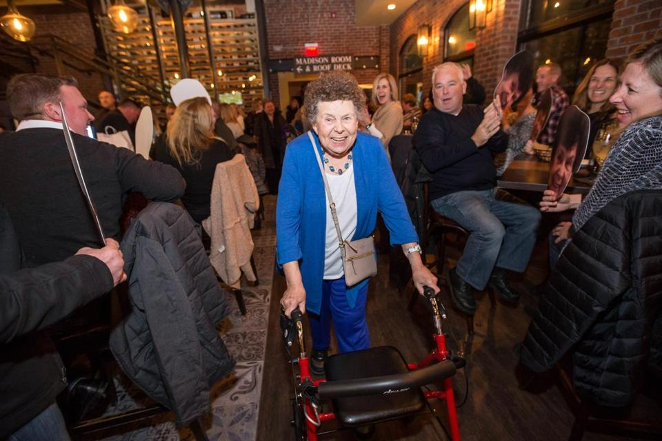 12/27/2017 QUINCY, MA Doris Prendiville (cq) was the guest of honor during a party held for her at Alba in Quincy. Doris was injured during a mugging before Thanksgiving. (Aram Boghosian for The Boston Globe)