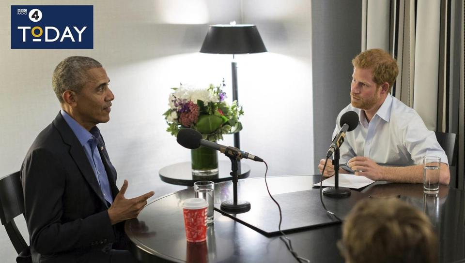 Former president Barack Obama is interviewed by Britain's Prince Harry for the BBC Radio 4 Today programme that he guest edited.