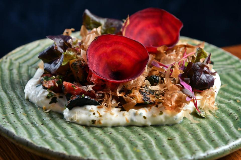 Cultivar's yakitori beets with ricotta, farm egg, and furikake: an elegant take on a beet salad.