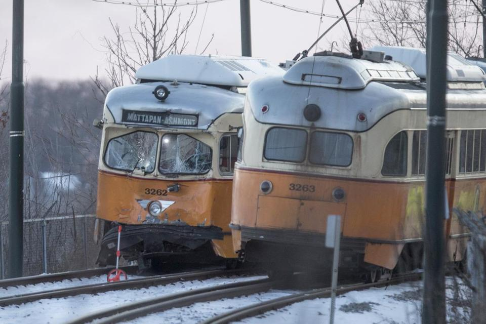The smashed front end of a Mattapan High Speed MBTA Trolley near Cedar Grove Station on Friday, December 29, 2017 in Wellesley. (Scott Eisen for The Boston Globe)