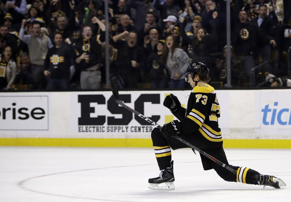 Charlie McAvoy, striking a familiar pose (Ray Bourque, anyone?), could be the next great Bruins defenseman.