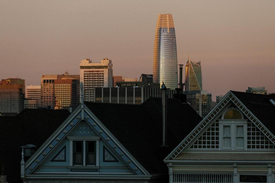 The new Salesforce Tower looms over the skyline in San Francisco.
