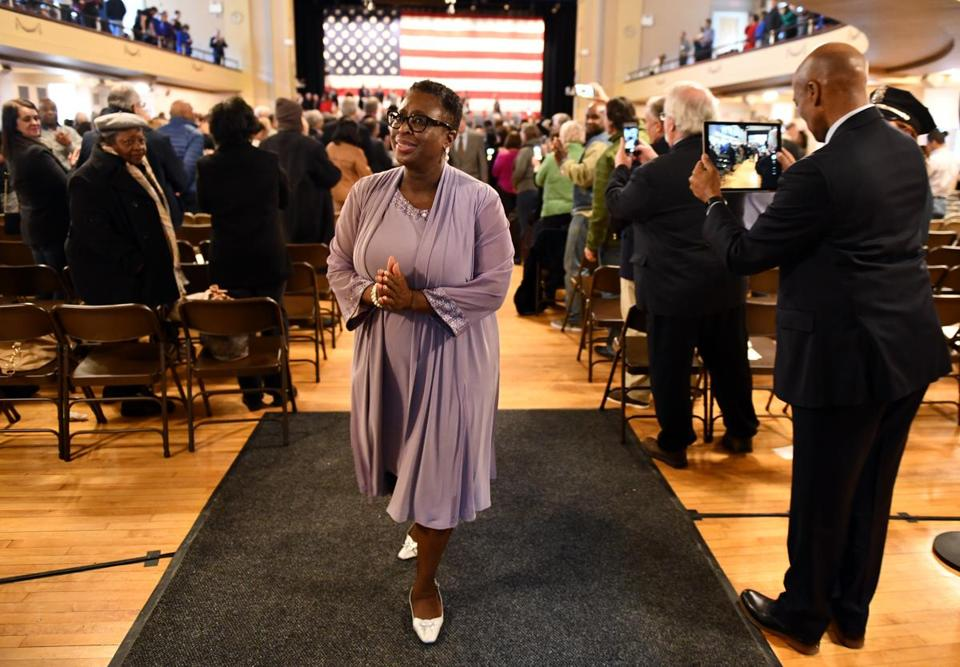 Yvonne M. Spicer reacted after being sworn in as Framingham;s first mayor.