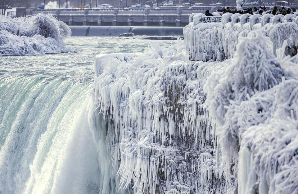 In warmer times, Horseshoe Falls in Niagara Falls, Ontario, normally has 681,750 gallons of water pouring over the edge every second.