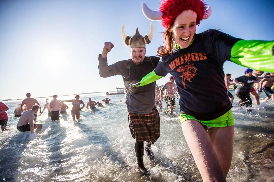 Participants took the plunge during Annual L Street Brownies New Year's Day Swim.