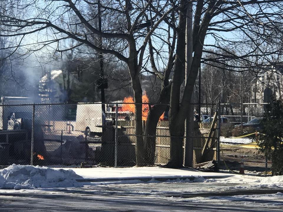 The fire in a 10-inch gas main began shortly after 6 p.m. Sunday near 340 Hyde Park Ave., about a mile south of the Forest Hills MBTA station.