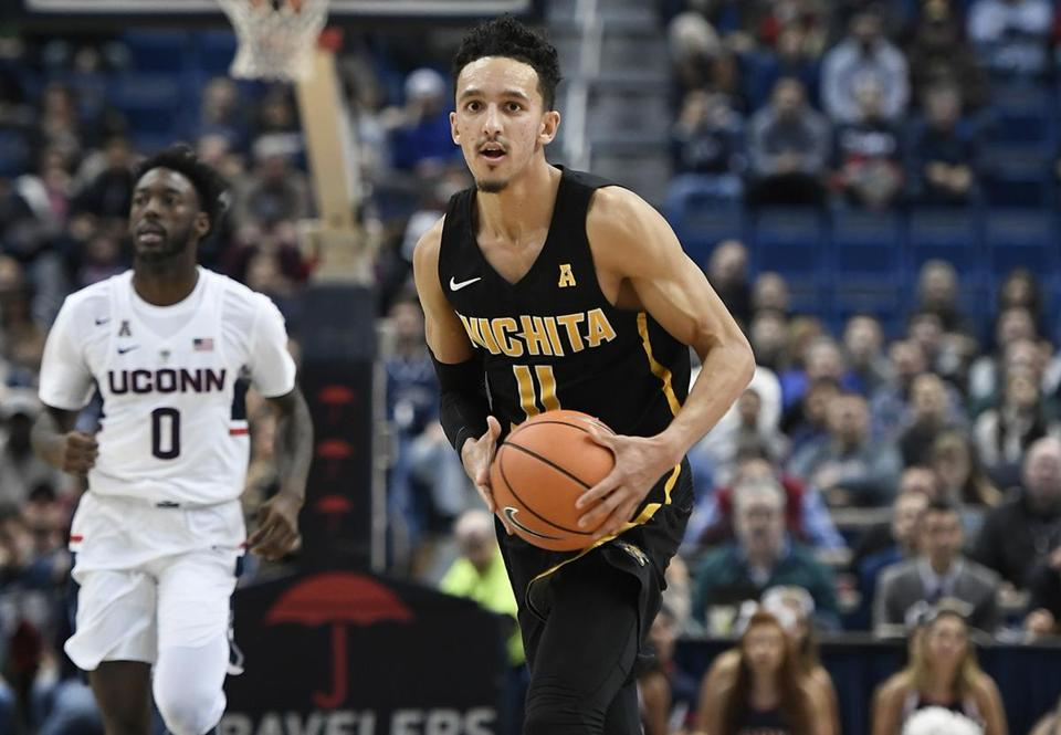 Wichita State's Landry Shamet during the second half of an NCAA college basketball game, Saturday, Dec. 30, 2017, in Hartford, Conn. (AP Photo/Jessica Hill)
