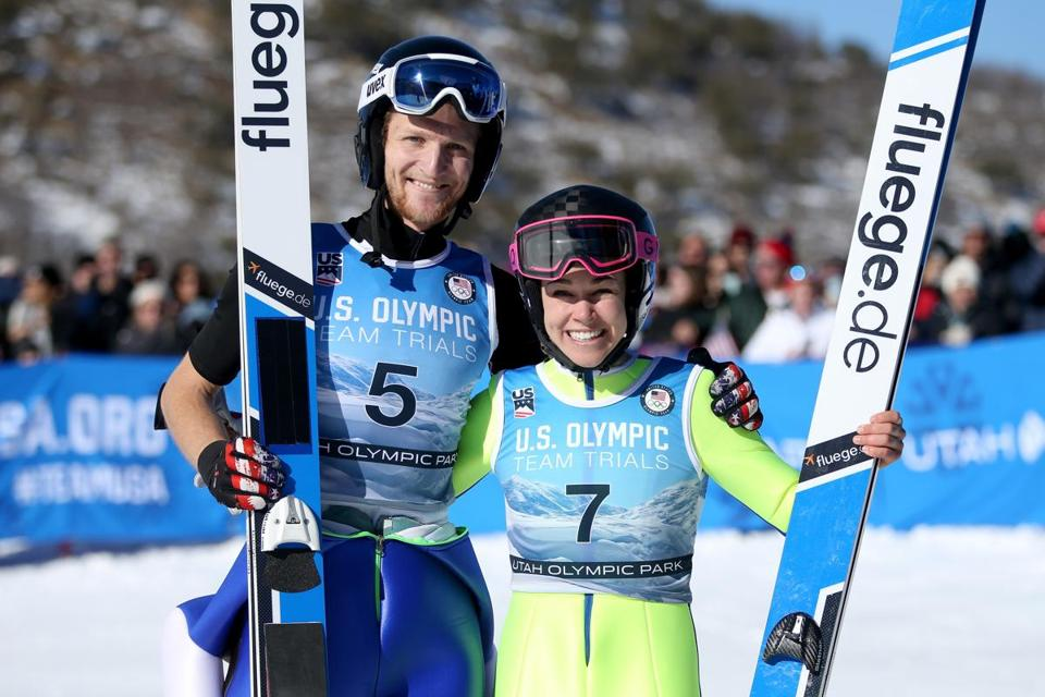 Ski jumpers Michael Glasder (left) and Sarah Hendrickson are all smiles after securing berths on the 2018 US Olympic team.