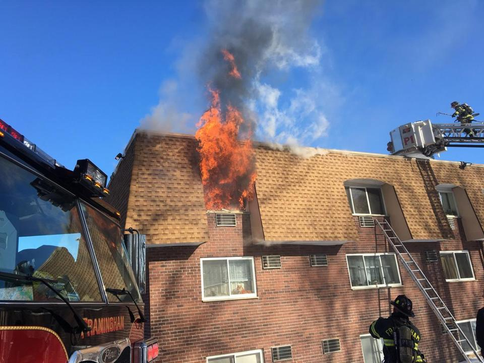 Framingham firefighters battled a fire at Lord Chesterfield Apartments.