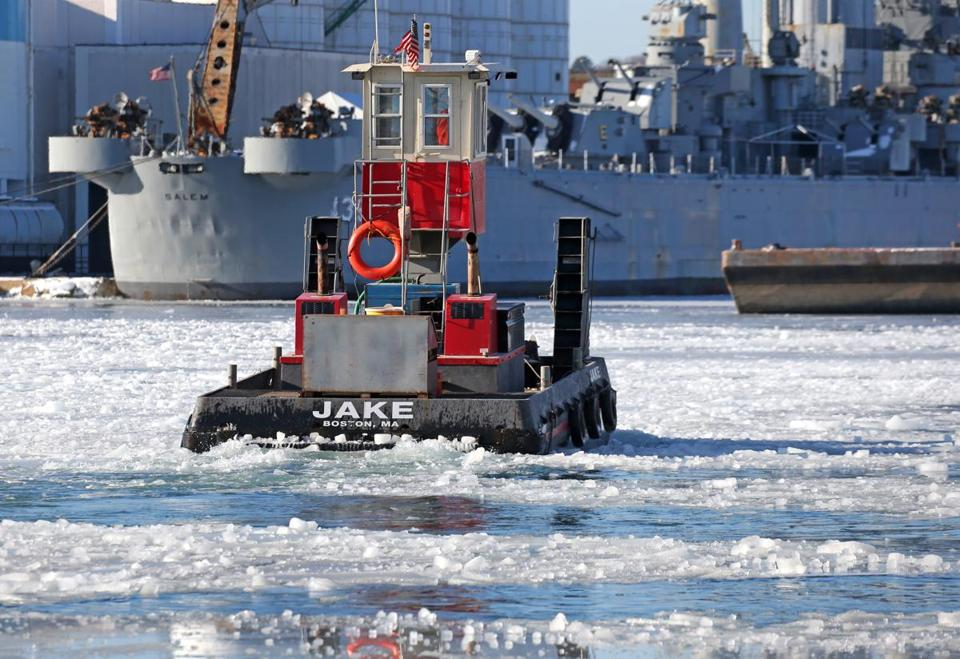 WEYMOUTH, MA - 1/02/2018: A small tug in Weymouth breaks up ice in the Fore River (David L Ryan/Globe Staff ) SECTION: METRO TOPIC stand alone photos