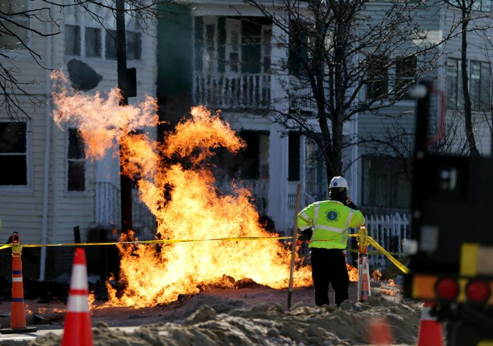 National grid and other emergency crew worked to fix 10-inch gas main near 340 Hyde Park Ave., about a mile south of the Forest Hills MBTA station Tuesday.