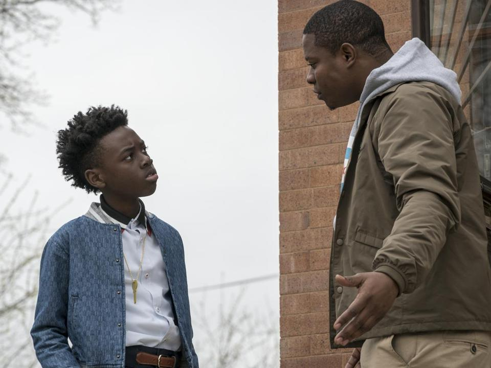 "Alex Hibbert and Jason Mitchell in Showtime's ""The Chi."""