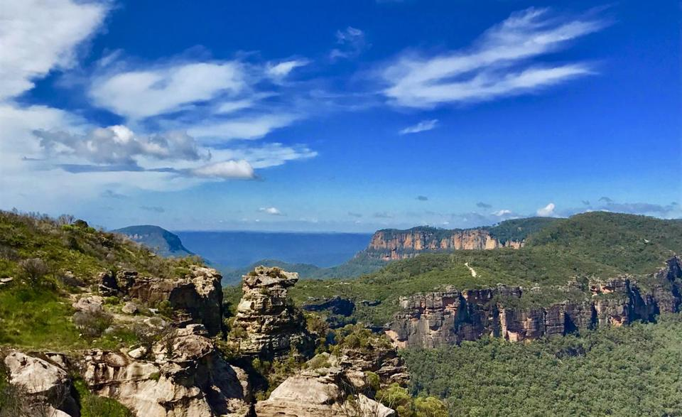 A panoramic view of the Blue Mountains in New South Wales Australia