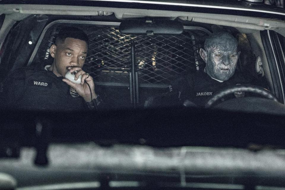 "Will Smith (left) and Joel Edgerton star in the fantasy police drama ""Bright."""