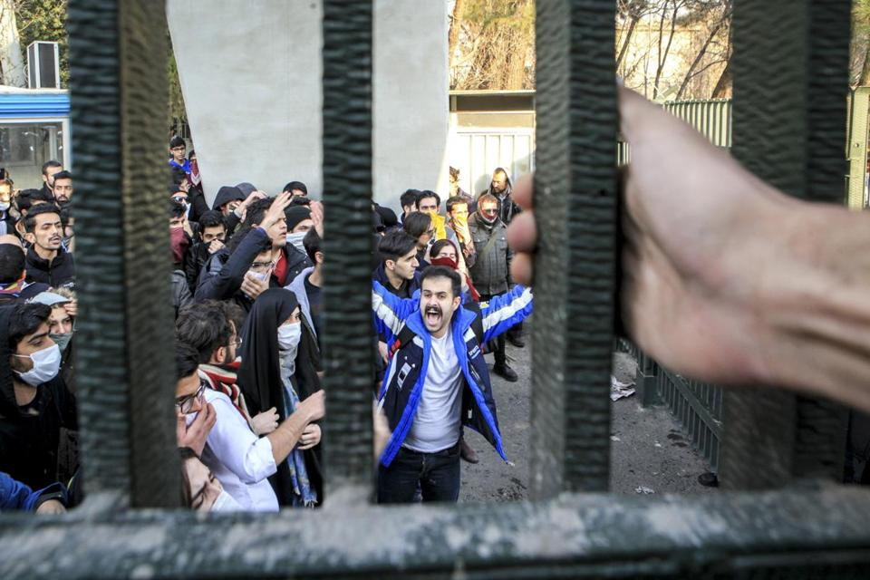 Students attended an anti-government protest at Tehran University on Dec. 30.