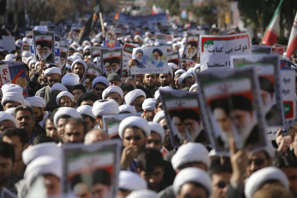 Iranian clerics took part in a state-organized rally against anti-government protests in the country, in the holly city of Qom, southwest Iran, on Wednesday.