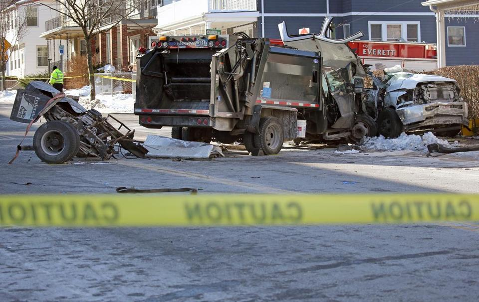 Scene of a crash on Broadway near Dunster Road in Everett Wednesday.
