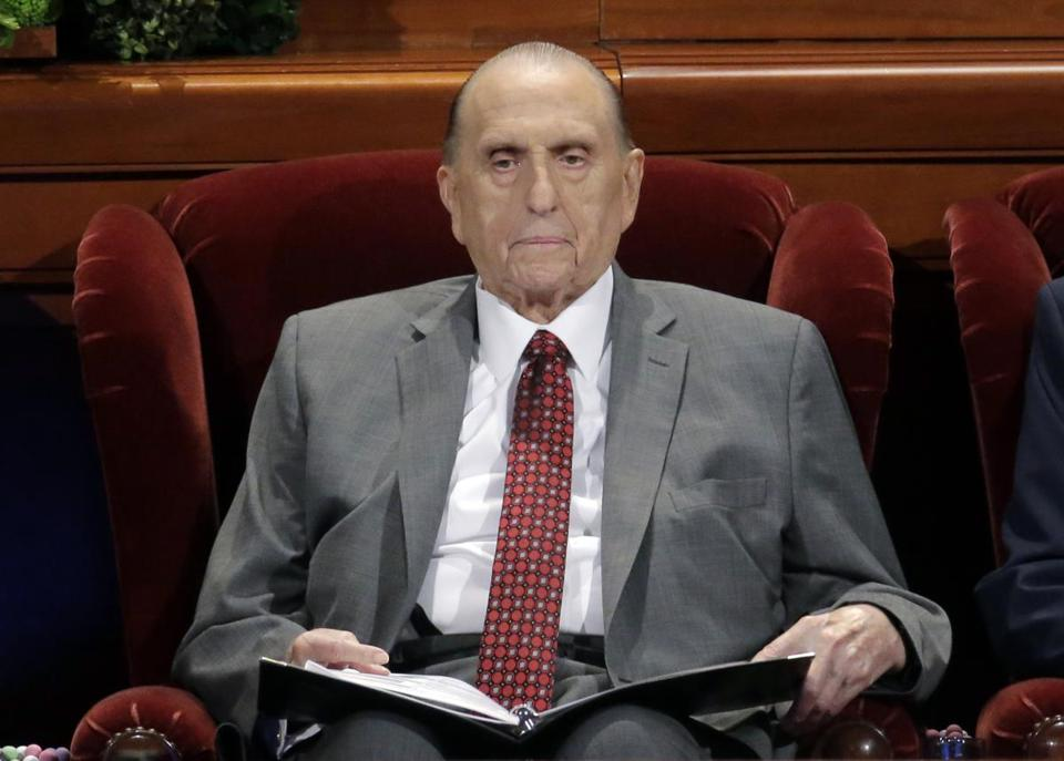Mr. Monson during an April 2017 church conference in Salt Lake City.