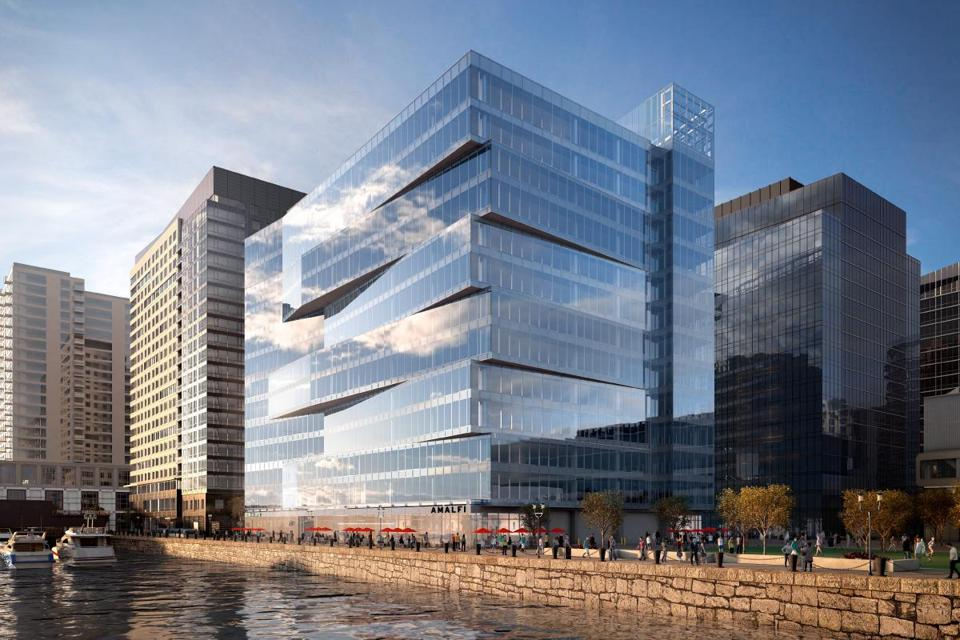 A new office building on Pier Four where education publishing firm Cengage will move its headquarters later this year.
