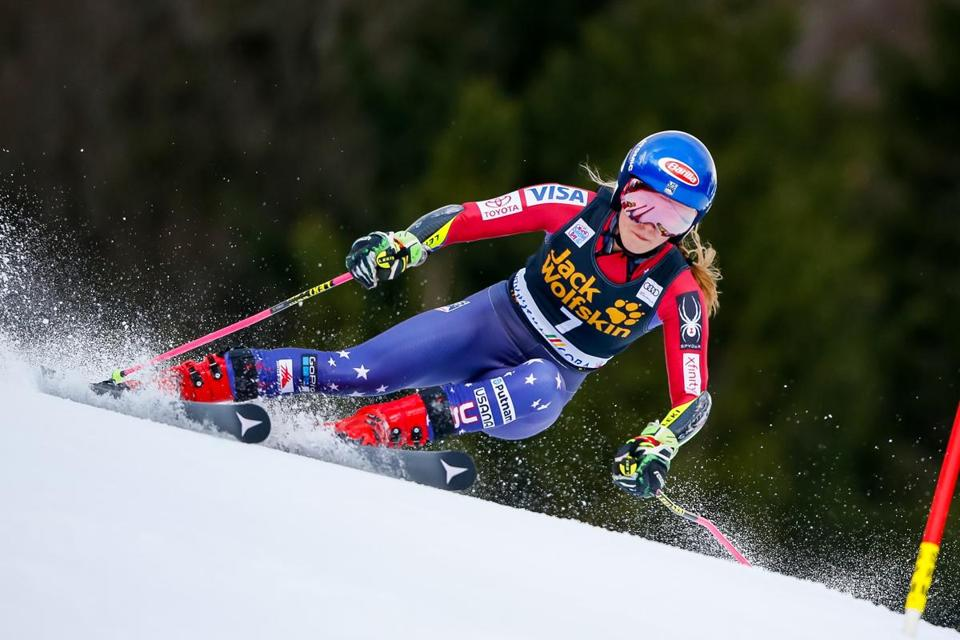 KRANJSKA GORA, SLOVENIA - JANUARY 06: Mikaela Shiffrin of USA competes during the Audi FIS Alpine Ski World Cup Women's Giant Slalom on January 6, 2018 in Kranjska Gora, Slovenia. (Photo by Christophe Pallot/Agence Zoom/Getty Images)
