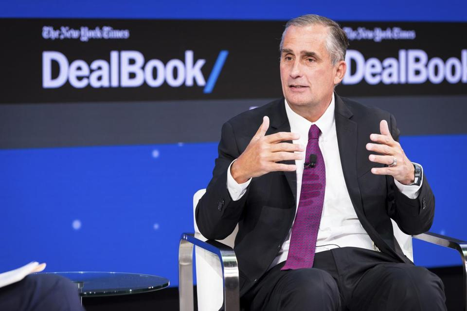 Brian Krzanich, chief executive of Intel, spoke at The New York Times Dealbook Conference in New York last November. Intel and Krzanich are in the hot seat over Meltdown and Spectre, two chip security issues that were disclosed last week.