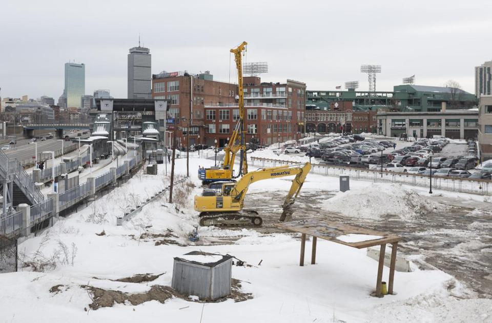 Work has started on the Fenway Center project in Boston's Fenway neighborhood, which will contain 312 apartments when completed.
