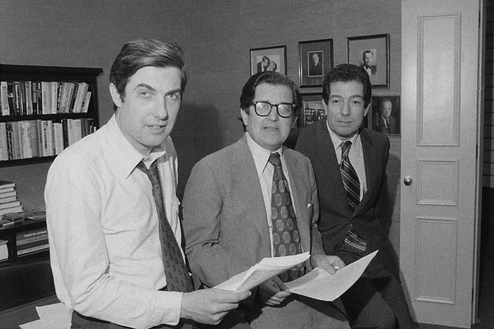 From left, reporter Neil Sheehan, managing editor A.M. Rosenthal, and foreign news editor James L. Greenfield are shown in an office of The New York Times after it was announced the team won the 1972 Pulitzer Prize for public service for its publication of the Pentagon Papers.