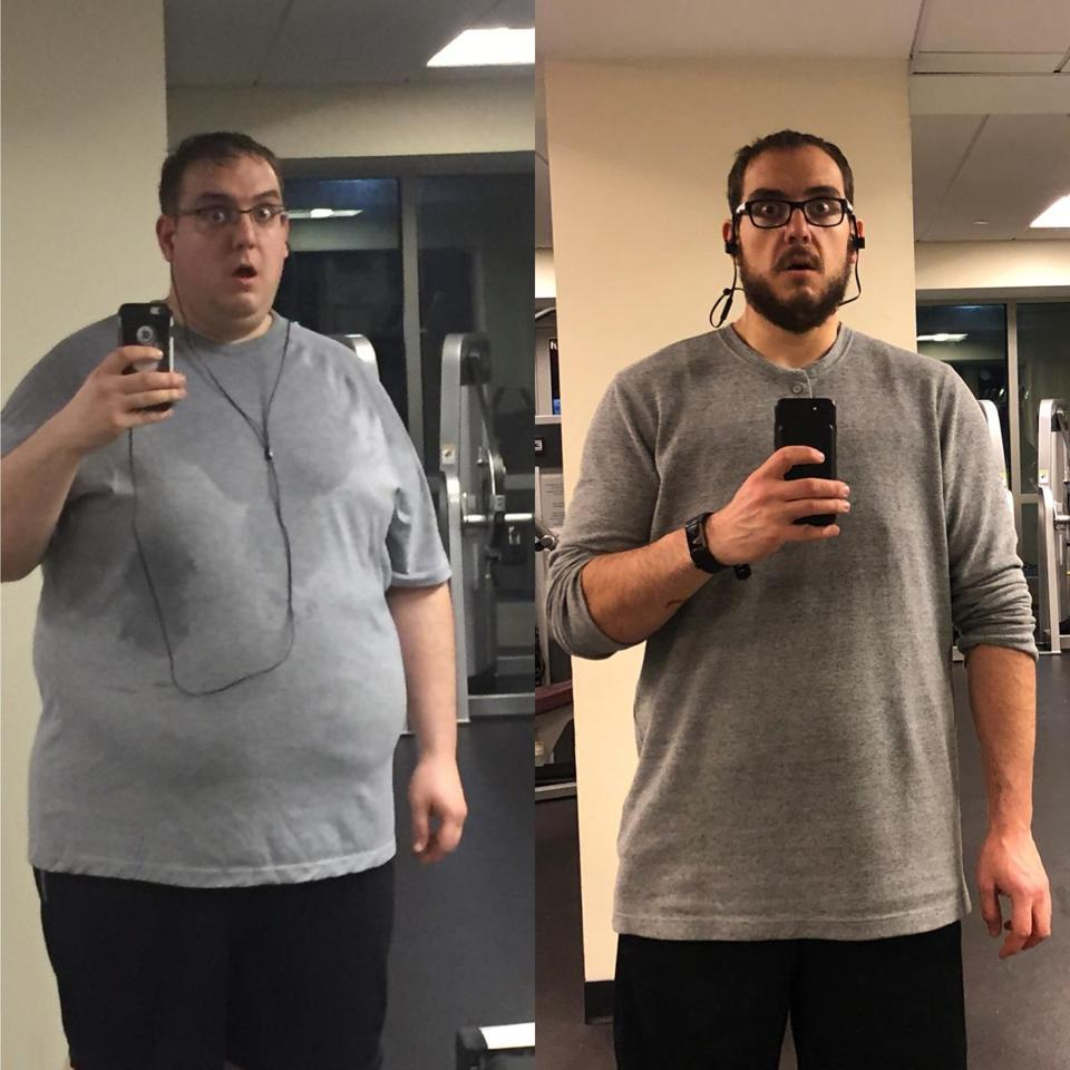 Pictures of chef Dan Raia before his weight loss (left) and after.
