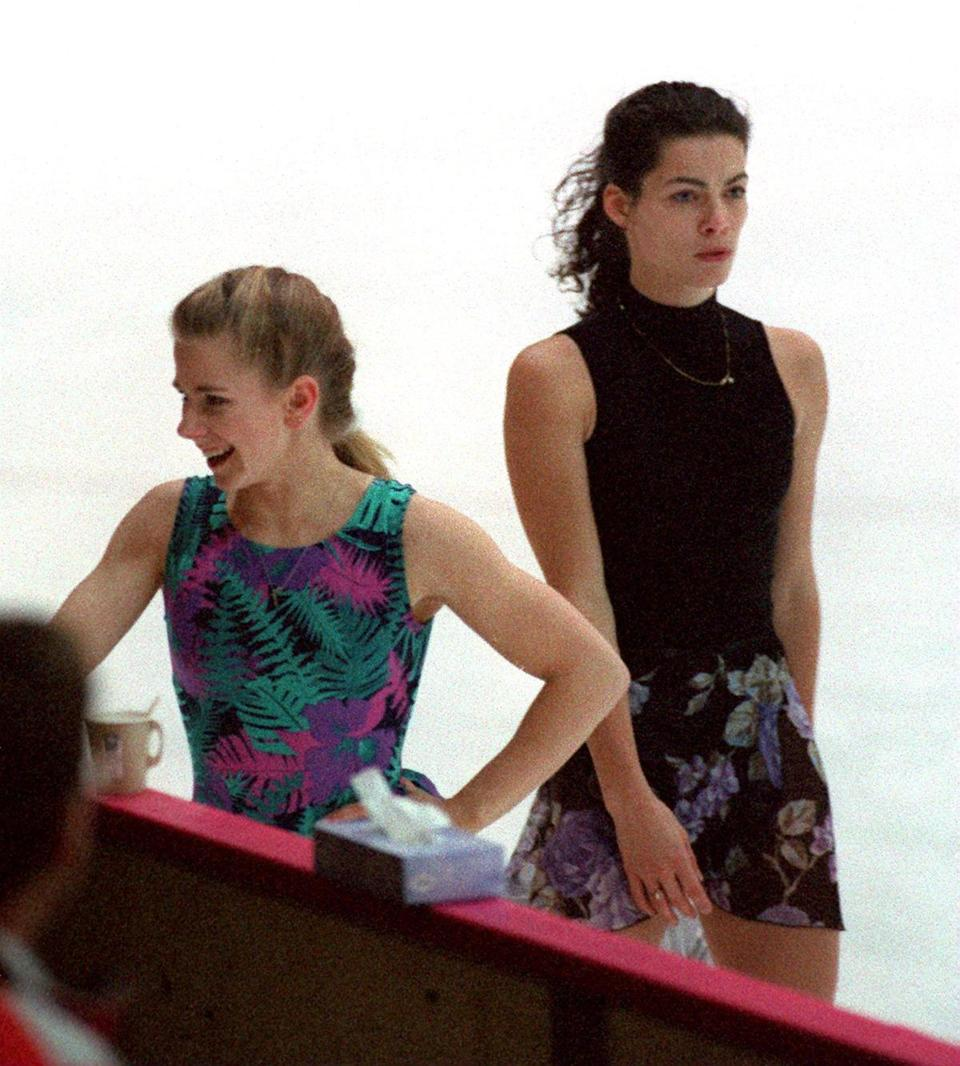 Harding (left) and Nancy Kerrigan during a practice before the 1994 Lillehammer Games.