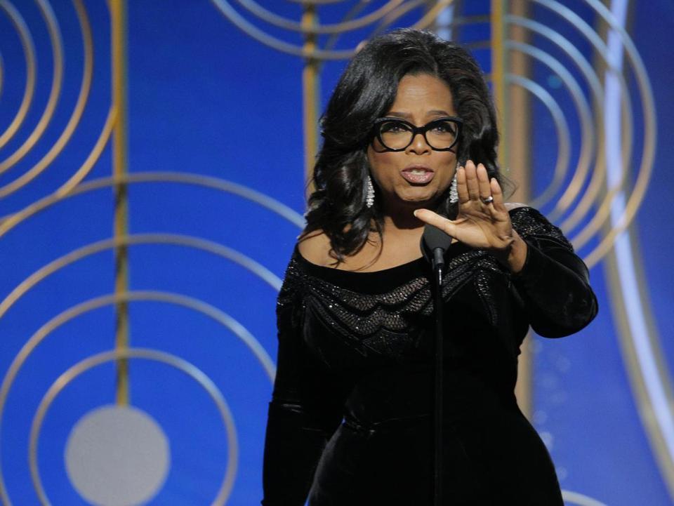 Oprah Winfrey spoke at the Golden Globe Awards on Sunday night.
