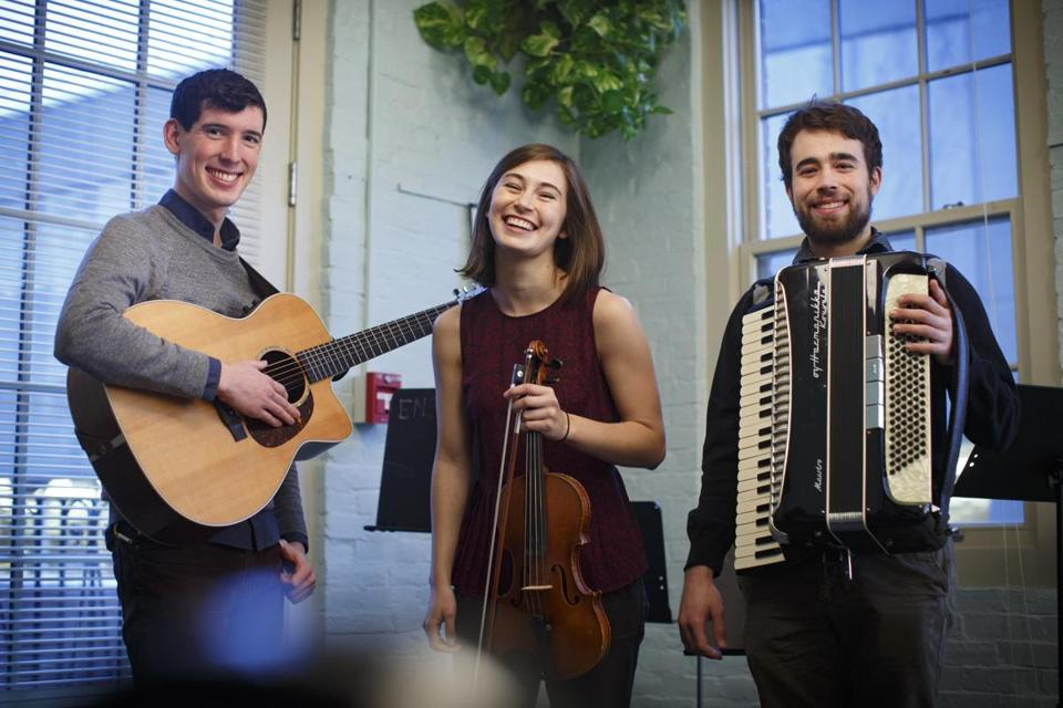From left: Conor Hearn, Maura Scanlin, and Aidan Scrimgeour of BCM Fest act Pumpkin Bread.