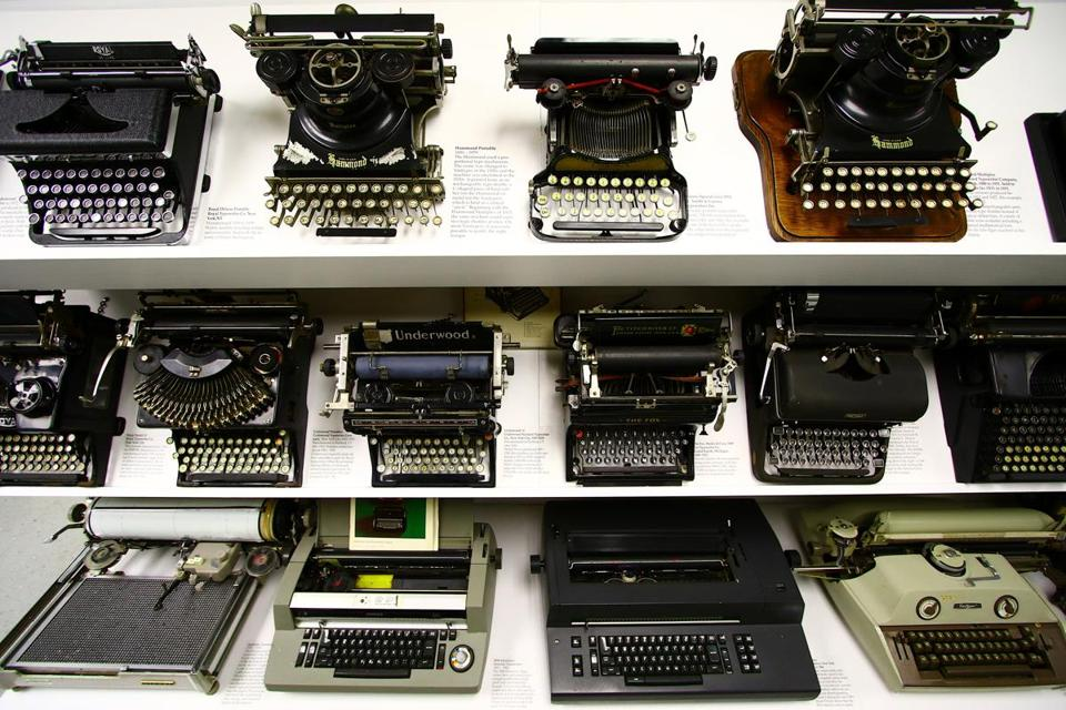 Old typewriters through the years are on display at The Museum of Printing in Haverhill, located on Thornton Street, the museum is dedicated to preserving the history of the graphic arts, printing and typesetting technology. Mark Lorenz for the Boston Globe
