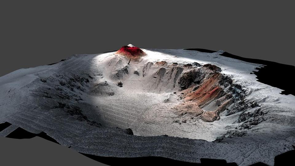 The topography of the Havre volcano crater as mapped by Sentry. Areas of new eruption are shown in red.