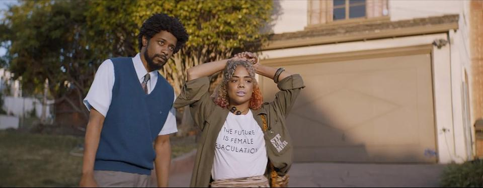 "Lakeith Stanfield and Tessa Thompson in ""Sorry to Bother You."""