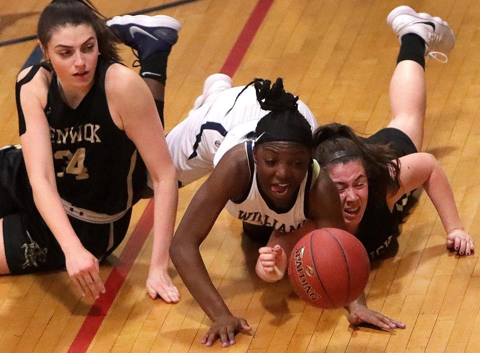Braintree, MA - 1/09/2018 - AB's Asiah Dingle (3) and Bishop Fenwick's Jennie Meager, (34) at left and Courtney Norton, (10) at right chase a loose ball during tonight's game. Bishop Fenwick at No. 2 Archbishop Williams girls' basketball. - (Barry Chin/Globe Staff), Section: Sports, Reporter: Greg Levinsky, Topic: 10schrdp, LOID: 8.4.606634126.