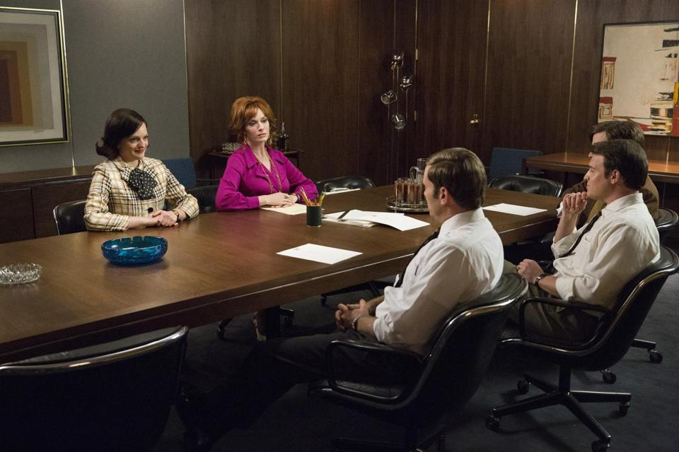 "Elisabeth Moss (left) and Christina Hendricks in ""Mad Men."""